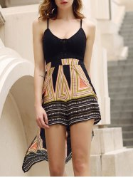 Stylish Plunging Neck Backless Multi Convertible Way Skirted Romper For Women -