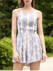 Refreshing Printed Backless High Waist Romper For Women