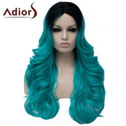 Charming Long Middle Part Capless Fluffy Wavy Black Mixed Green Synthetic Wig For Women -