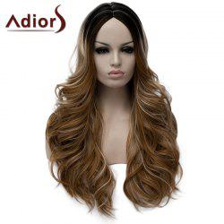Fluffy Wavy Light Brown Highlight Synthetic Stylish Long Middle Part Wig For Women