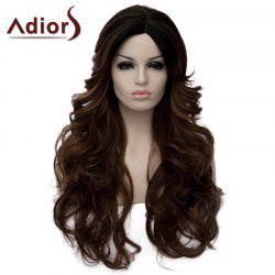 Fashion Long Black Brown Ombre Capless Fluffy Wavy Side Parting Synthetic Wig For Women -
