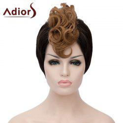 Stylish Short Capless Side Bang Synthetic Fluffy Brown Highlight Curly Bump Wig For Women - BLACK AND BROWN