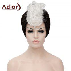 Fashion Short Capless White Highlight Synthetic Fluffy Curly Bump Wig For Women