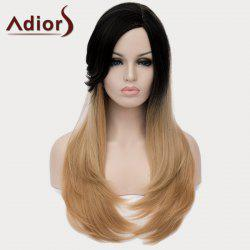 Vogue Black Ombre Light Blonde Long Capless Stunning Straight Side Bang Synthetic Wig For Women -