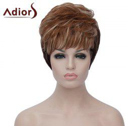 Spiffy Short Black Brown Mixed Capless Fluffy Natural Wavy Synthetic Wig For Women