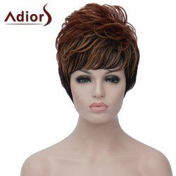 Dynamic Side Bang Brown Black Mixed Capless Short Fluffy Wave Synthetic Wig For Women -