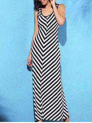 Chic Scoop Neck Sleeveless Striped Slimming Women's Dress