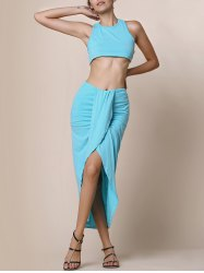 Slit Crop Racerback Two Piece Club Dress -