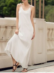 Spaghetti Strap Pockets Long Casual Maxi Beach Dress - WHITE