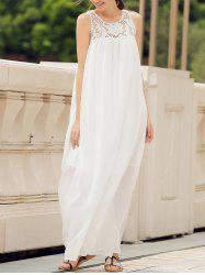 Lace Panel Summer Chiffon Long Swing Dress - Blanc
