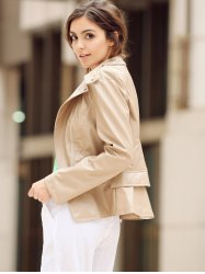 Fashionable Turn-Down Collar Zippered Long Sleeve PU Leather Jacket For Women - KHAKI