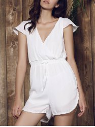Sexy Plunging Neck Solid Color Tassel Embellished Short Sleeve Romper For Women - WHITE