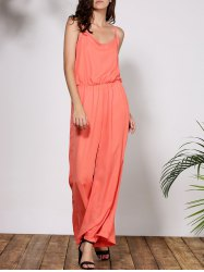 Stylish Spaghetti Strap Solid Color Women's Baggy Jumpsuit - ORANGE
