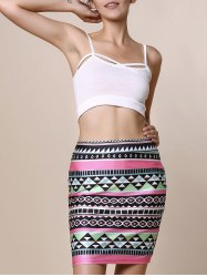 Retro Style Geometric Printed Bodycon Skirt For Women - COLORMIX