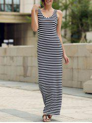 Maxi Stripe Backless Jersey Prom Dress