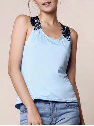 Trendy Style Scoop Neck Lace Splicing Backless Tank Top For Women - BLUE