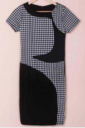 Stylish Scoop Neck Short Sleeve Plaid Bodycon Dress For Women -