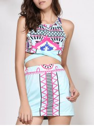 Crop Sleeveless Print Short Club Two Piece Dress - COLORMIX L
