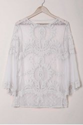 Sexy Scoop Neck Lace Embroidery See-Through Long Sleeve Cover-Up For Women - WHITE