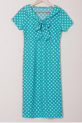 Elegant Bow Collar Polka Dot Print Short Sleeve Pencil Dress For Women
