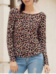 Stylish Round Neck Long Sleeve Leopard Print Backless Women's T-Shirt -