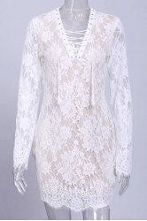 Low Cut Long Sleeve Lace Up Bodycon Short Lace Dress - WHITE