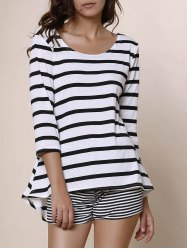 Simple Style Scoop Neck Striped 3/4 Sleeve Blouse For Women - WHITE AND BLACK M