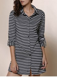 Simple Shirt Collar Striped Long Sleeve Blouse For Women -
