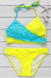Sexy Halter Color Block Criss-Cross Women's Bikini Set - YELLOW M