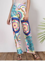 Fashionable Mid-Waisted Loose-Fitting Printed Women's Pants - GREEN