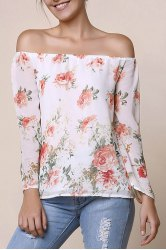Stylish Off-The-Shoulder Long Sleeve Floral Print Chiffon Women's Blouse