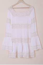 Stylish Round Neck Long Sleeve Lace Spliced Flouncing Women's White Dress - WHITE M