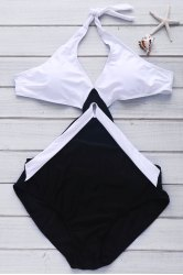 Color Block Backless Women's One-Piece Swimwear