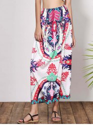Bohemian Mid-Waisted Printed Waist Drawstring Women's Maxi Skirt - COLORMIX