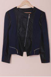Chic Faux Leather Zipper Long Sleeve Jacket For Women - BLUE AND BLACK