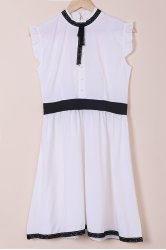 Vintage Stand Collar Lace-Up Ruched Button Design Slimming Dress For Women - WHITE