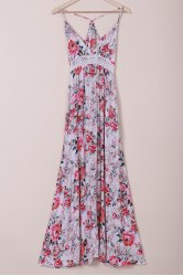 Elegant Spaghetti Strap High Waist Flower Printed Maxi Dress For Women