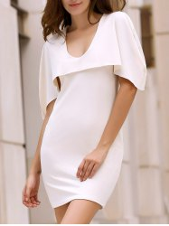 Cape Style Overlay Mini Bodycon Dress