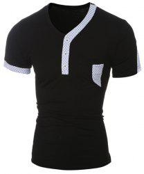 Color Block Dot Splicing Special V-Neck Short Sleeve T-Shirt For Men