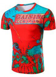 Fashion Round Neck Abstrat Print Short Sleeve T-Shirt For Men - COLORMIX M
