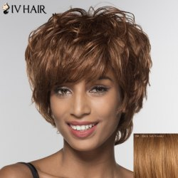 Stylish Siv Hair Short Side Bang Human Hair Wig For Women -