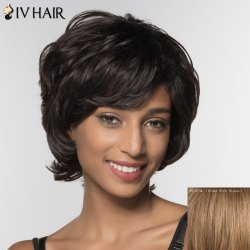 Stylish Siv Hair Curly Short Inclined Bang Human Hair Wig For Women -