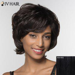 Stylish Siv Hair Curly Short Inclined Bang Human Hair Wig For Women