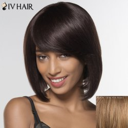 Stylish Siv Hair Straight Medium Human Hair Wig For Women -