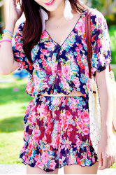 Chic High Waisted Tiny Floral Print Four-Piece Swimsuit For Women -