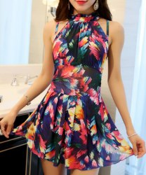 Elegant Stand Collar Floral Print Underwire Swimsuit For Women -