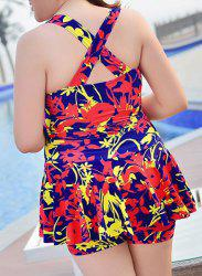 Sweet Cross Back Plunging Neck Printed Women's Swimwear -