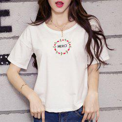 Embroidered Merci Graphic Tee -
