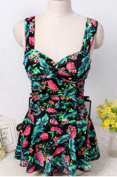 Floral Tropical Print Skirted One-Piece Swimwear For Women - BLACK M