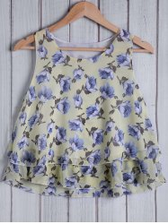 Stylish Round Collar Floral Pattern Loose-Fitting Women's Tank Top -